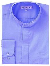 AA413 Dress Shirt with no collar mandarin Collar LavenderLight