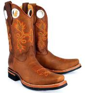 RM1017 King Exotic Rodeo Style Rage Finish Leather Cognac