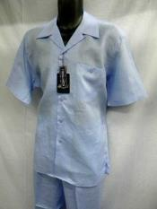 SM709 Light Blue Linen 2 Piece Walking Suit Short