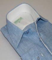 SD306  Inserch Mens Linen Button Front Light Blue