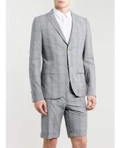 GD1821 Mens Summer Light Gray Business Suits With Shorts