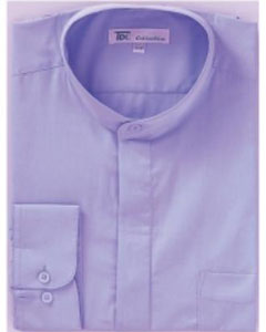 T-42Q Band Collar Dress Shirts Lillac