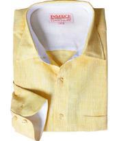 RM1832 Online Sale Linen Dress Shirt Summer Yellow