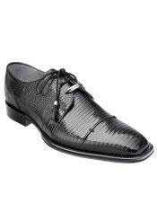 JSM-1331 Belvedere Full Lizard Skin Exotic Black Shoes