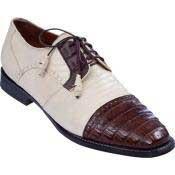KA6372 Lizard & Gator Tip Dress Shoe Bone With
