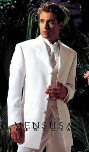 MUY75GA Longer coat 4 Button Style White Notch Tuxedo