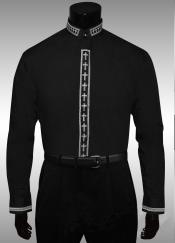 QH568 Cross Clergy Collar Cross Placket Dress shirts no