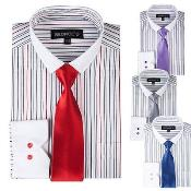 PN_X21 Striped Dress Shirt With Solid Tie And Slim