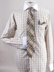 Small Checker Dress Fashion Shirt/ Tie / Hanky Set