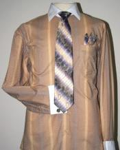 Two Tone Stripes Design Dress Fashion Shirt / Tie