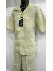SM705 Two Piece Big Size Natural Beige Linen Short