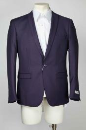 Navy Peak Lapel One Button