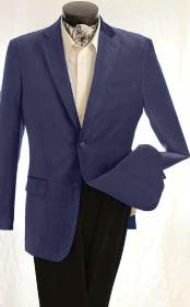 KA1238 Fashion 2 Button Style Velvet Jacket Navy Blue