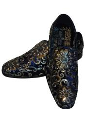 SM5117 Mens Gold Silver Embroidered Slip On Style Fancy