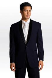 PN-M72 Formal Suit Liquid Jet Black Lapeled Midnight Navy