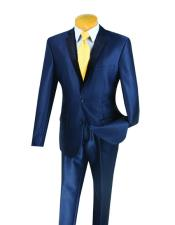 JSM-3236 Mens 2 Buttons Shiny Slim Fit Navy Blue