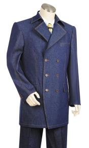 JA139 Mens Button Fastener Double Breasted Trench Collar Navy