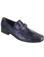 JSM-4993 Mens Casual Slip On Loafer Navy Genuine Lizard