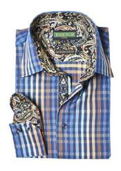 Style2615-11 Inserch Brand Brand Navy Stripe Plaid Cotton Shirt