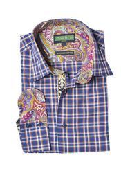 Style2617-11 Inserch Brand Brand Navy Plaid Cotton Shirt Paisley
