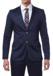 Blue Cotton Skinny Fit Suits for Online Madison Navy