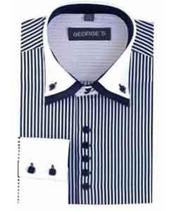 SM481 Navy Standard Cuff Long Sleeve Dress Shirt Two
