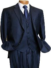 NAVY527 3 Piece Navy Pinstripe Italian Design Athletic Cut