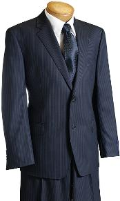 Navy Pinstripe Wool Fabric Italian