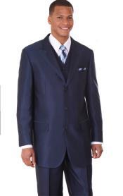 Vested Sharkskin Fashion Suit: