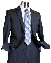 NAVY643 Navy Tone on Tone 100% Wool Fabric Suit