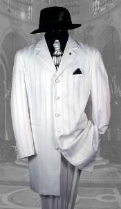 "AEF306 White Shadow Pinstripe Fashion NOTCH COLLAR 38""LONG JACKET"