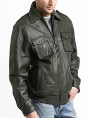 JSM-814 Mens Zipper Closure Lambskin Leather Military Olive Jacket