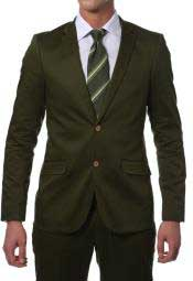 AC-922 Summer Suit for Men Olive Green Cotton Skinny