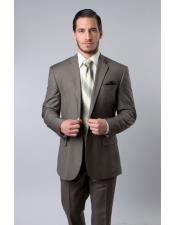 M215 ZeGarie Mens Single Breasted Wool Platinum Stripe Olive