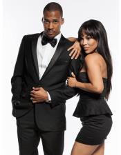JSM-5572 Mens Black 1 Button Slim Fit Prom suit