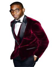 SM5207 Mens Burgundy Big And Tall Blazers Cheap Velvet