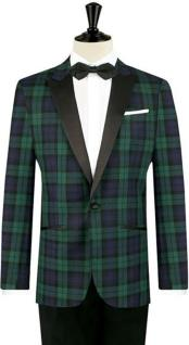 MO450 Mens One Button Tartan Designed Slim Fit Tuxedo