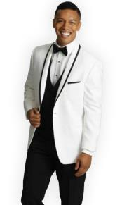 mens One Button Tuxedo Trimmed