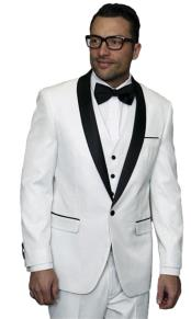 mens one button white vested