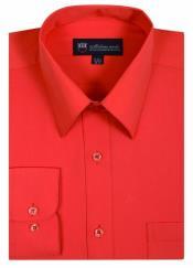 AA484 Men's Plain Solid Color Traditional Dress Shirt Orange