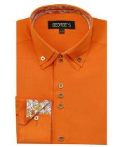Product#JSM-1447Mens60%Cotton40%POLYSolidOrangeShirt