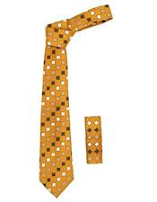 JSM-3446 Mens Burnt Orange Geometric Square Pattern Trendy Necktie
