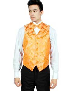 PN-C67 Orange Paisley Vest Bowtie Necktie And Handkerchief Set