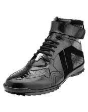 JSM-1221 Mens Belvedere Ostrich Skin Casual Black Sneakers