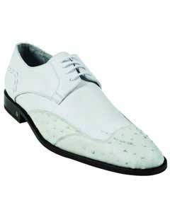 MK927 Ostrich Full Quill Skin White Dress Shoe
