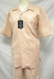 RM1297 trendy casual Peach Linen Walking Suits for Online