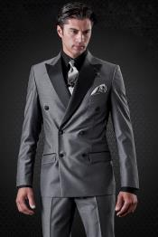 JSM-5000 Mens Slim Fit Charcoal Double Breasted 1920s Style