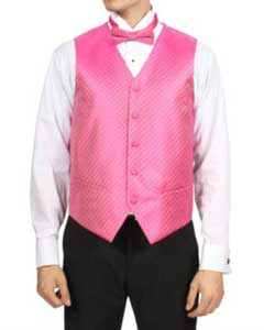 PN5A fuchsia ~ hot Pink Diamond Pattern 4-Piece Vest