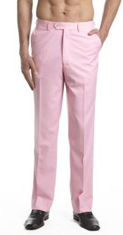AA466 Dress Pants Trousers Flat Front Slacks Pink
