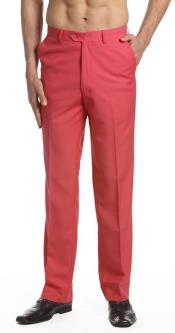 AA469 Dress Pants Trousers Flat Front Slacks Coral Pink